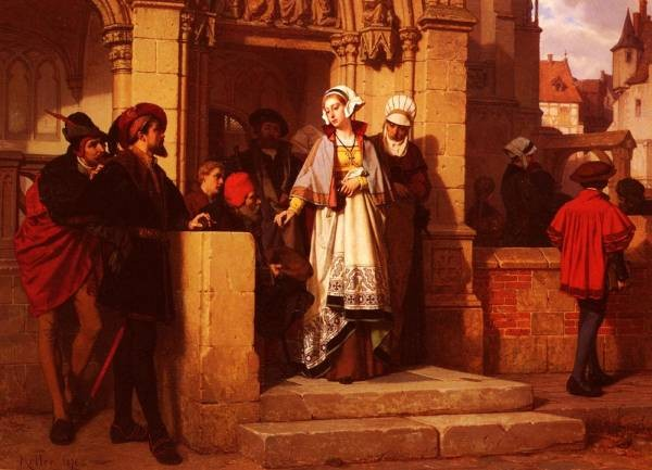 Faust And Memphistopheles Waiting For Gretchen At The Cathedral Door